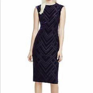 Vince Camuto chevron velvet purple dress. Size 14